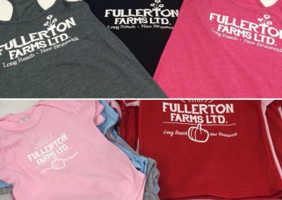 1 colour tank tops and baby onesies with custom logo designs.