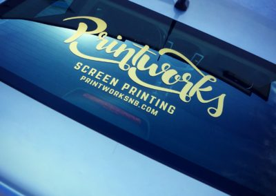Advertise your business with custom vehicle lettering featuring your logo.